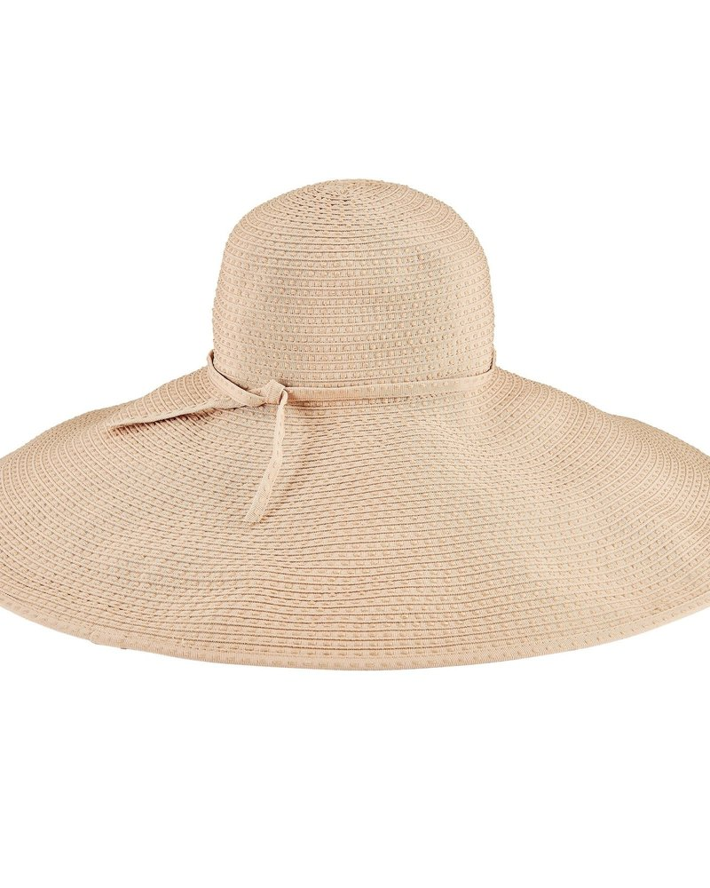 San Diego Hat Co San Diego Hat Co Wide Ribbon Floppy Ticking Hat