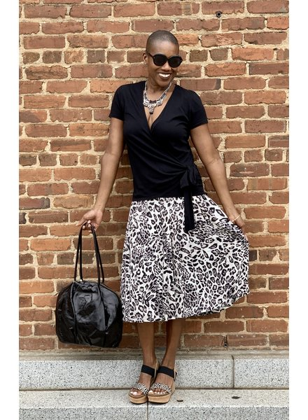 KLD KLD Pleated Leopard Skirt