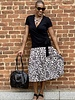 KLD KLD Pleated Leopard Skirt
