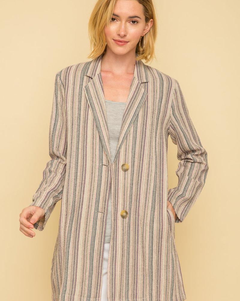 Mystree Mystree Stripe Long Jacket