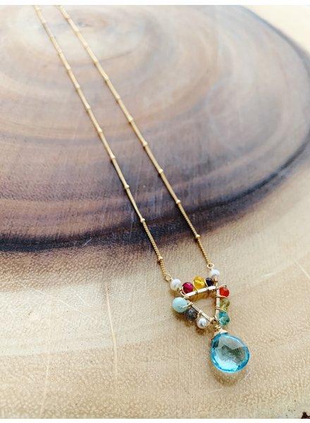 Anna Balkan Jewelry Mini Triangle and Gem Necklace Topaz
