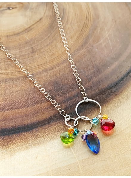 Anna Balkan Jewelry 3 Links Mixed Shapes Gems Necklace Blue Quartz