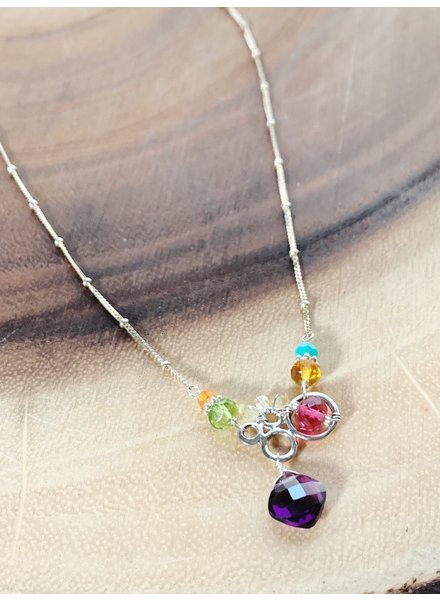 Anna Balkan Jewelry Small Bubbles with Diamond Gem Necklace