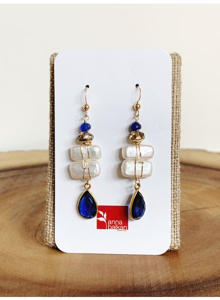 Anna Balkan Jewelry Pearl and Bezeled Gem Earrings