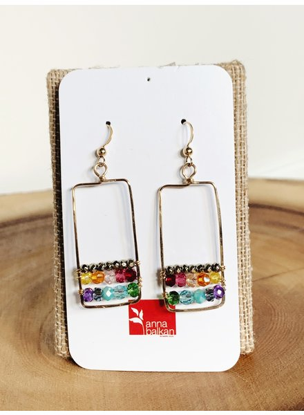 Anna Balkan Jewelry Framed Horizontal Lines Square Earrings