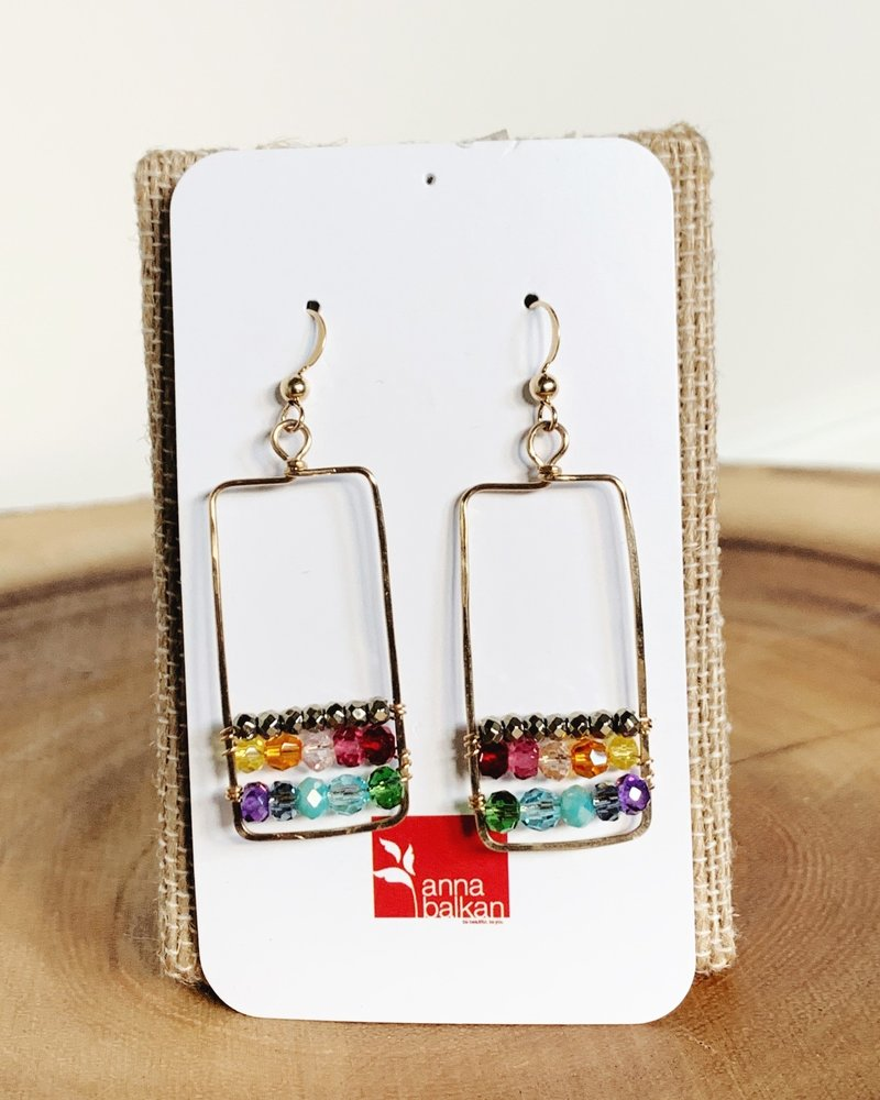 Anna Balkan Jewelry Anna Balkan Framed Horizontal Lines Square Earrings