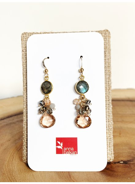 Anna Balkan Jewelry Bezel and Square Gem Earrings