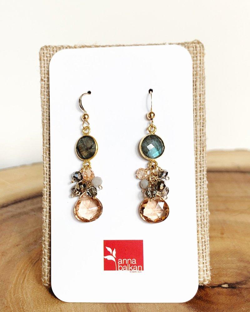 Anna Balkan Jewelry Anna Balkan Bezel and Square Gem Earrings