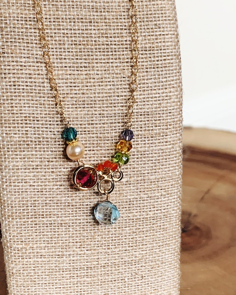 Anna Balkan Jewelry Anna Balkan Small Bubbles with Diamond Gem Necklace