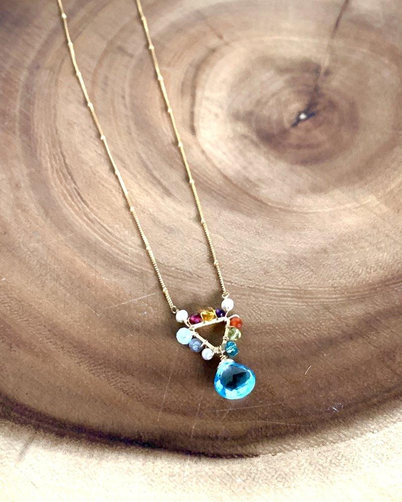Anna Balkan Jewelry Anna Balkan Mini Triangle and Gem Necklace Topaz