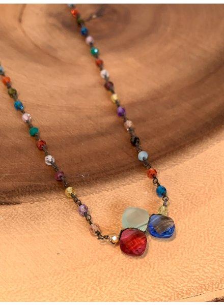 Anna Balkan Jewelry Tri-Gemstone w/ Rosary Necklace