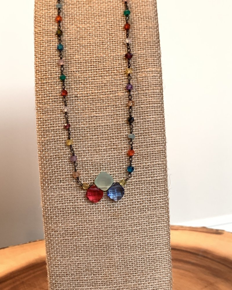 Anna Balkan Jewelry Anna Balkan Tri-Gemstone w/ Rosary Necklace