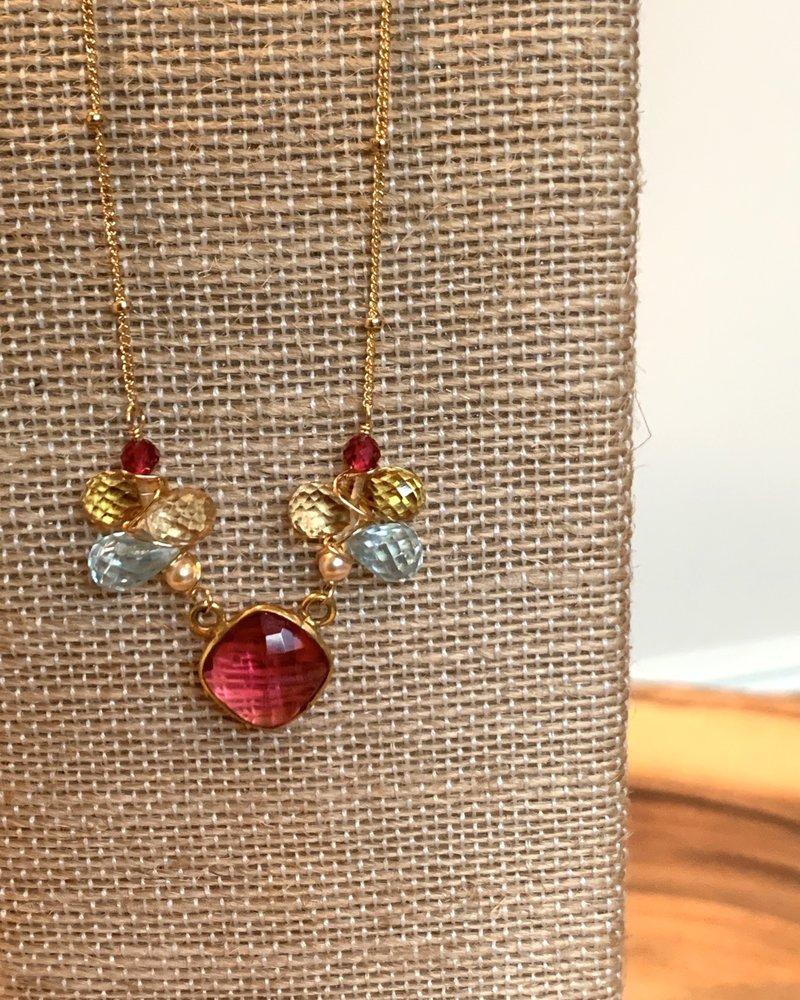 Anna Balkan Jewelry AnnaB Bezeled Rose Quartz Necklace