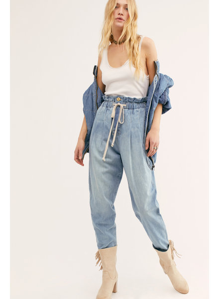 Free People Margate Pleated Denim Pant