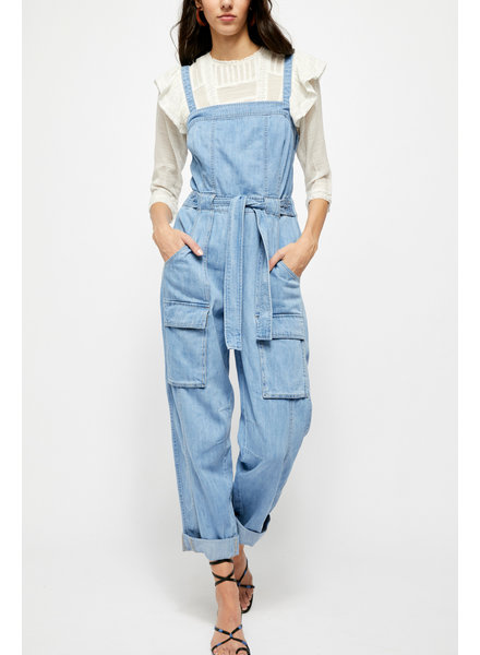 Free People Go West Denim Jumpsuit