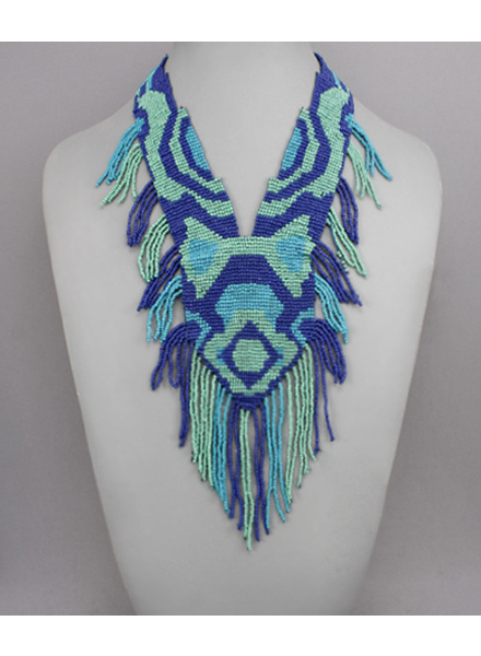 Geometric Seed Bead Bib Necklace