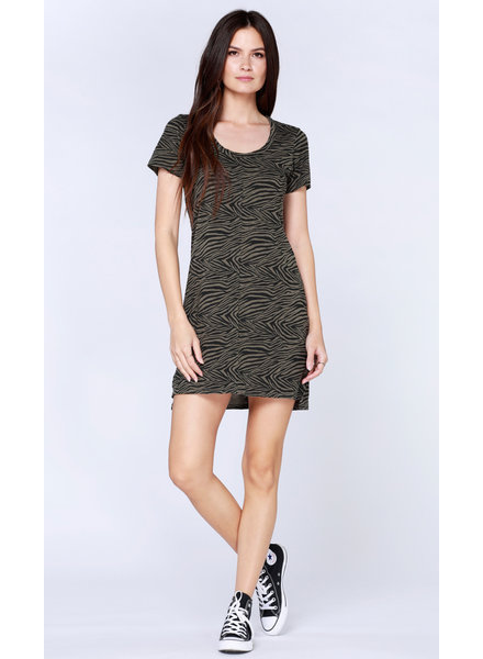 Bobi Short Sleeve Scoop Neck Dress