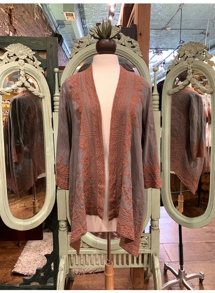 Johnny Was Eyal Linen Draped Cardigan