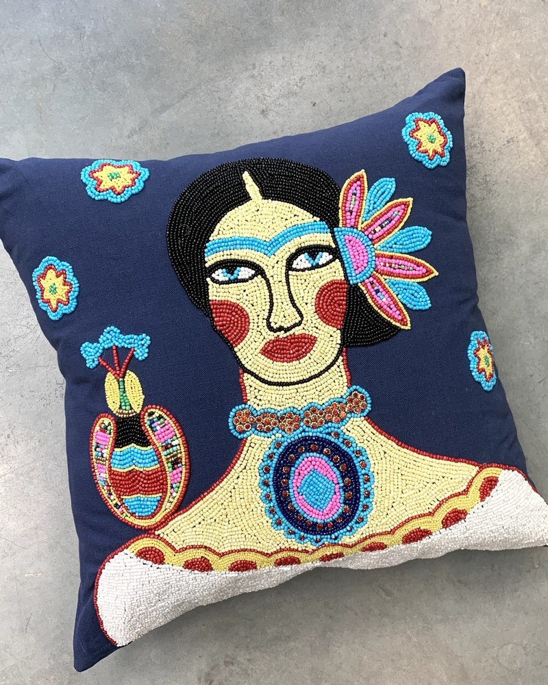 "Frida Beaded Parrot 18"" Pillow"