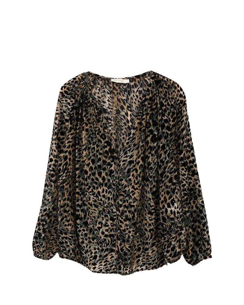 See U Soon See U Soon Leopard V-Neck Blouse