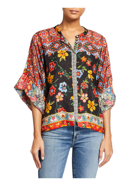 Johnny Was Lucasta Reversible Snap Blouse