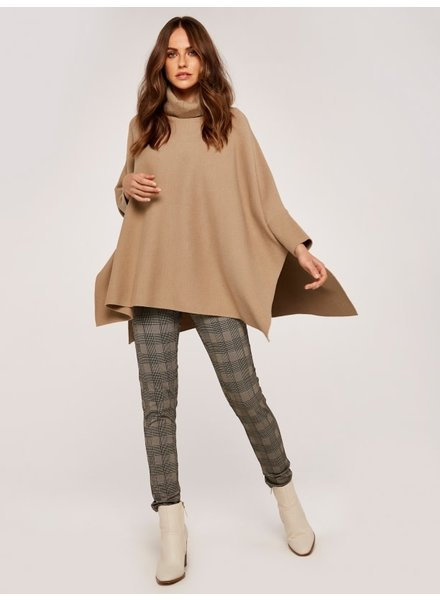 Apricot Roll Neck Poncho
