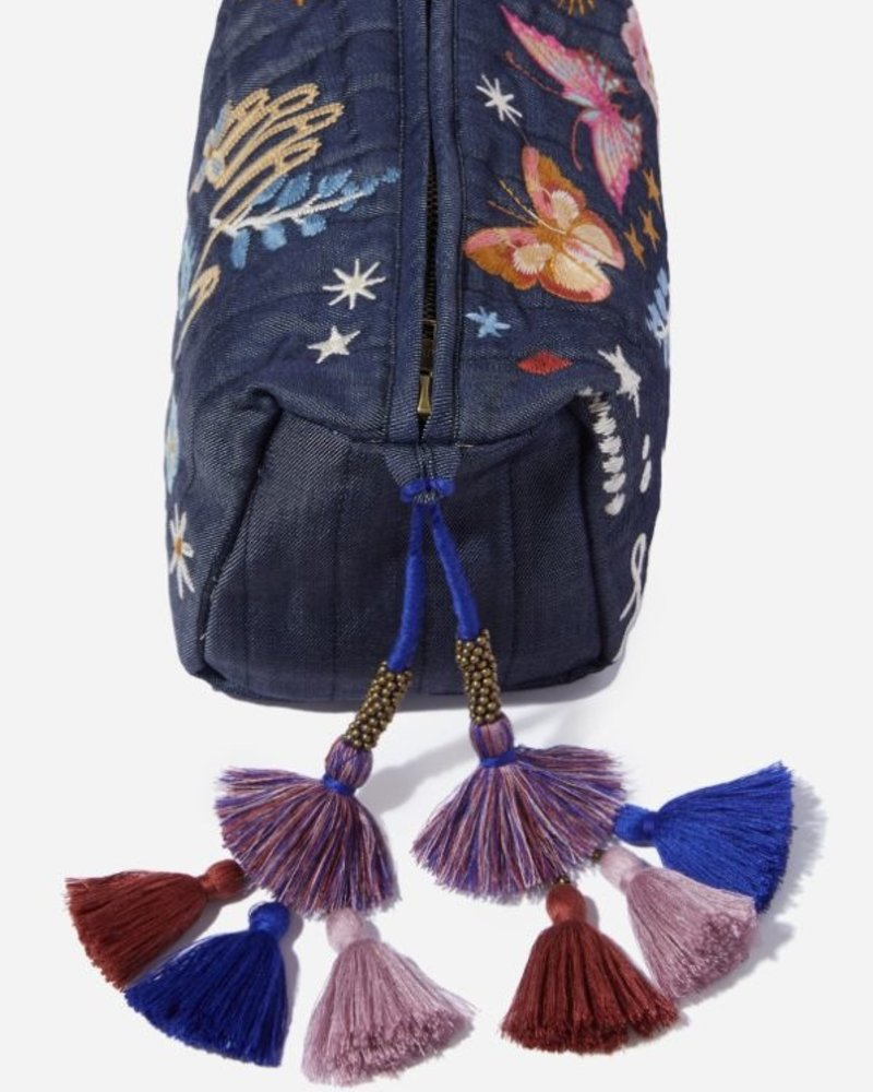 Johnny Was Johnny Was Quilted Denim Makeup Bag