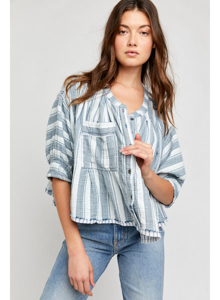 Free People Lisbon Yarn Dye Top