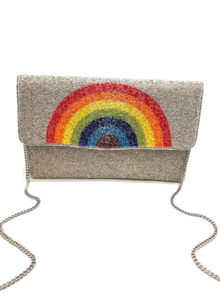LA Chic. Silver Rainbow Clutch
