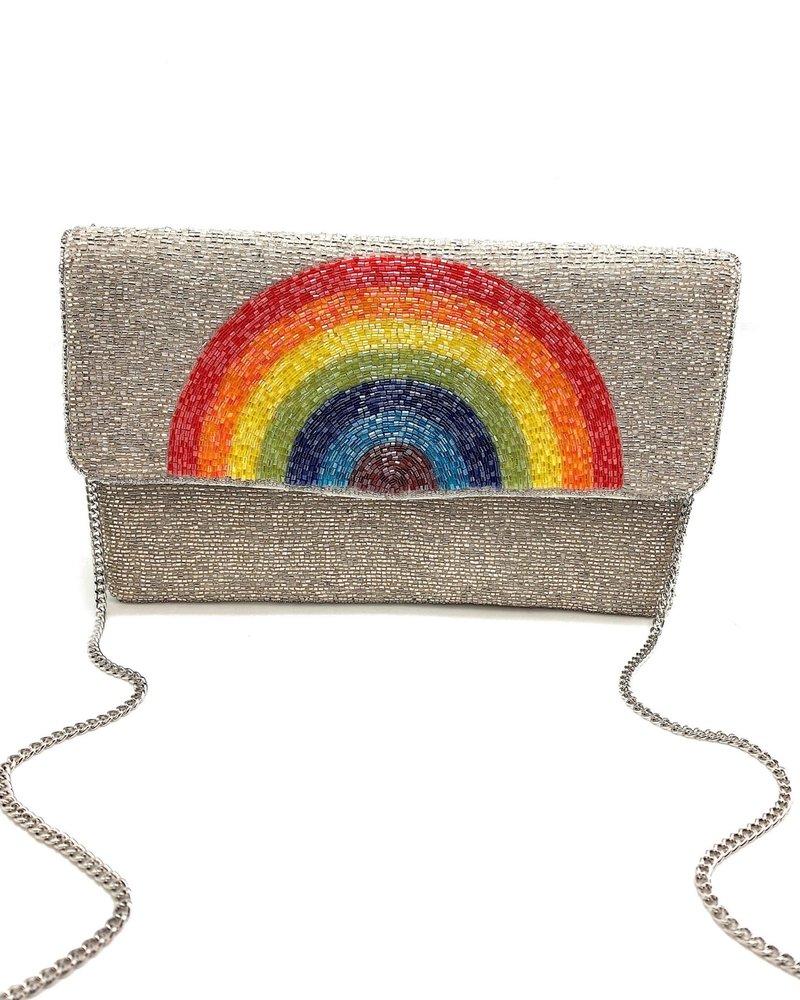 LA Chic. LA Chic Silver Rainbow Clutch