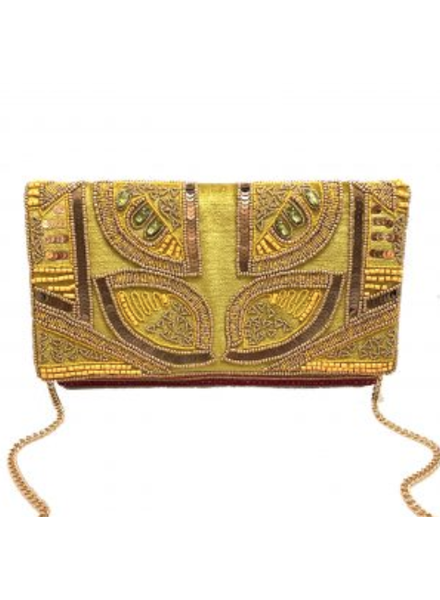 LA Chic. Lime Gold Velvet Clutch
