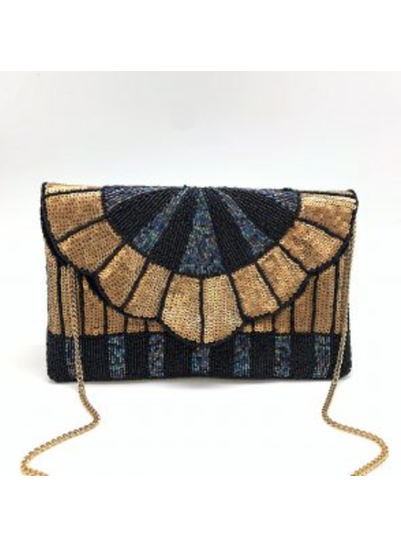 LA Chic. Black & Gold Sequin Beaded Clutch