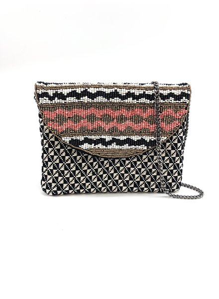 LA Chic. Black & Coral Mini Crossbody Bag