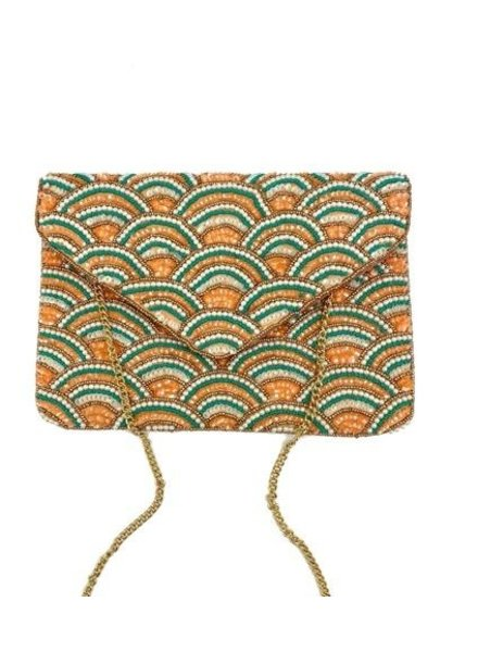 LA Chic. Shell Coral & Turquoise Clutch