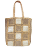 Square Patch Pattern Woven Jute Tote