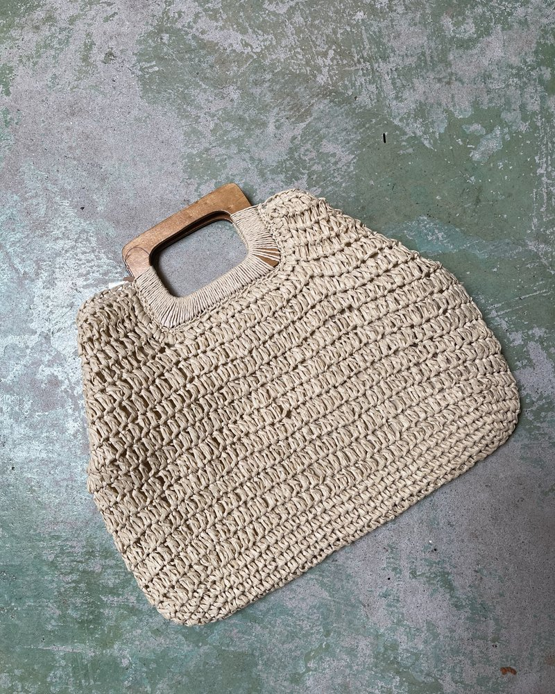 Square Wooden Handle Straw Tote