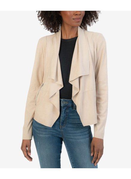 Abigail Faux Suede Drape Front Jacket