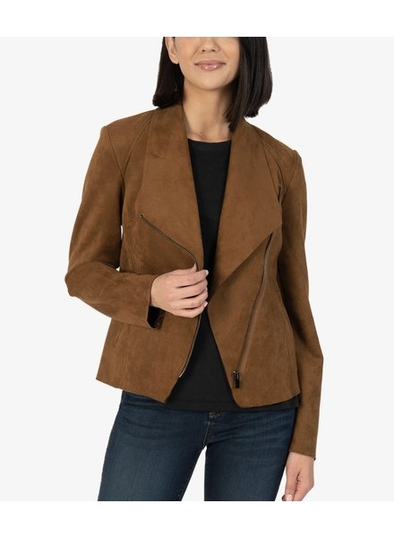 Carina Faux Suede Drape Collar Jacket