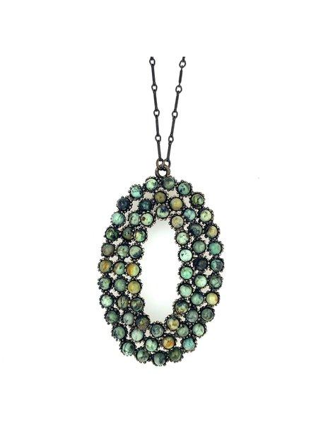Rebel Designs Oval Cluster 1471 Necklace Afr Turq