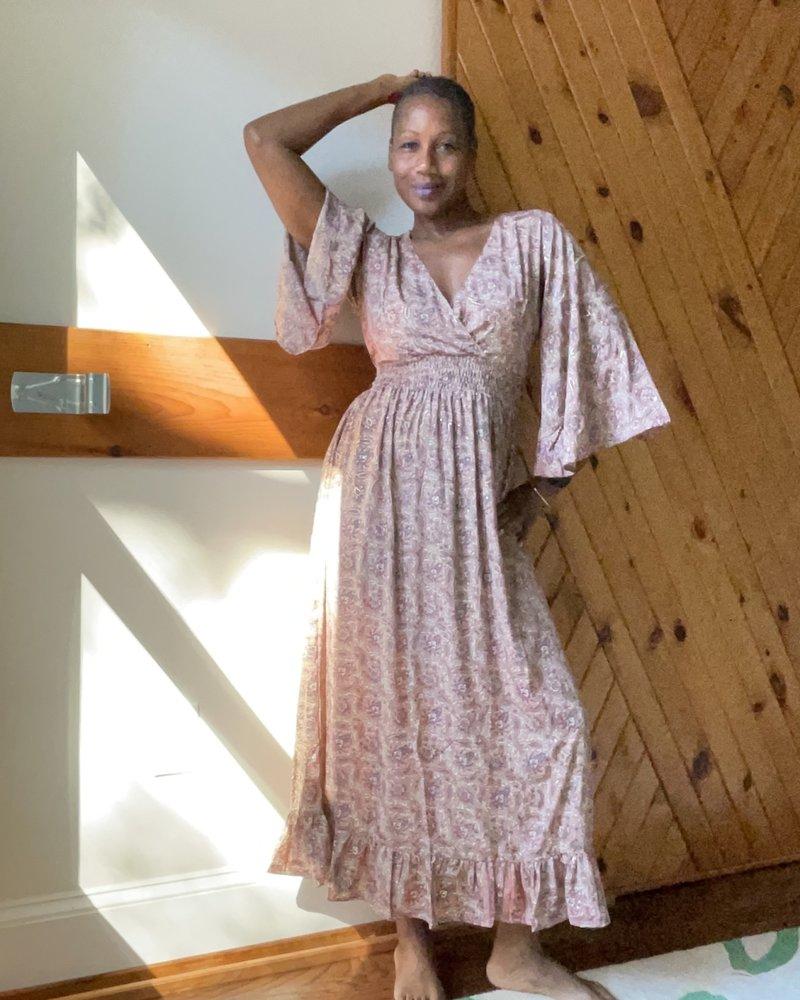 Paani Paani Bell Sleeve Elastic Waist Dress