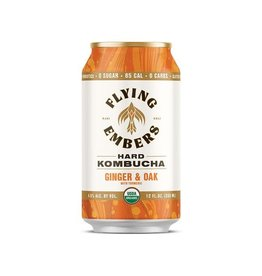 Flying Embers Flying Embers Ginger & Oak Kombucha 4pk can