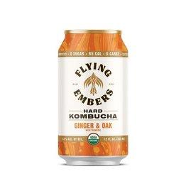 Flying Embers Ginger & Oak Kombucha 4pk can