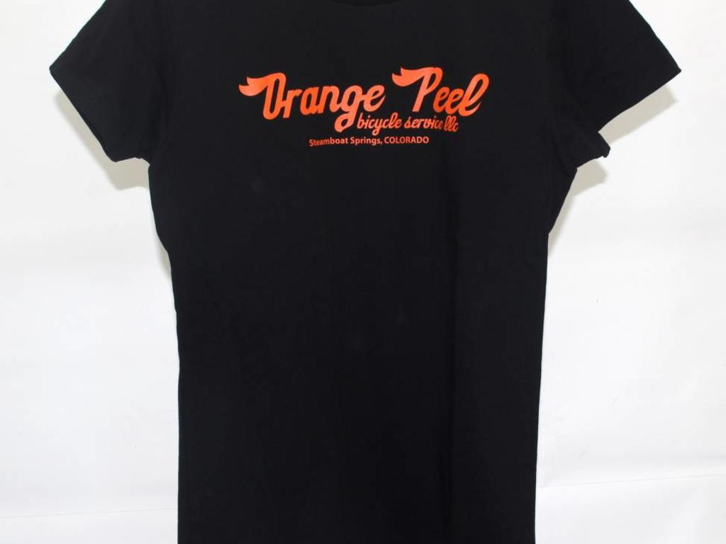 2f209224ecffc OP Woman s Black T-Shirt Orange Logo - Orange Peel Bicycle Service LLC