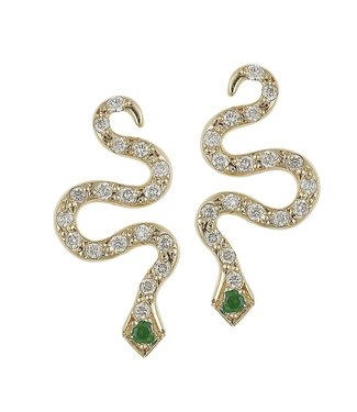 ILEANA MAKRI LITTLE SNAKE EAR Y-D- TS 18K YLW GOLD LITTLE SNAKE EARRINGS WITH DIAMONDS AND TSAVORITE EYES