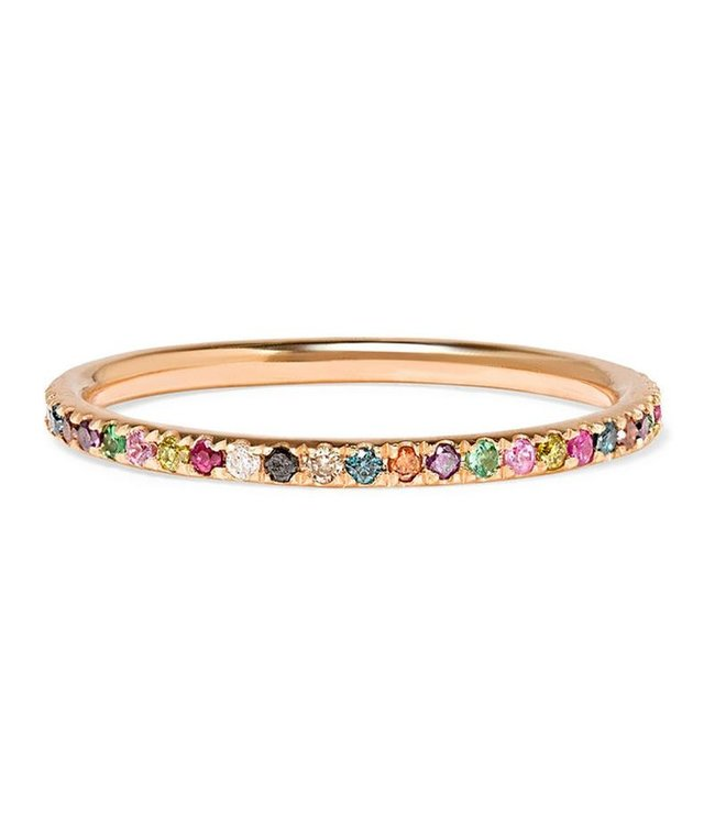 ILEANA MAKRI THREAD RAINBOW BAND P-MCLR STONES 18K PINK GOLD RING WITH MULTI COLOR STONES