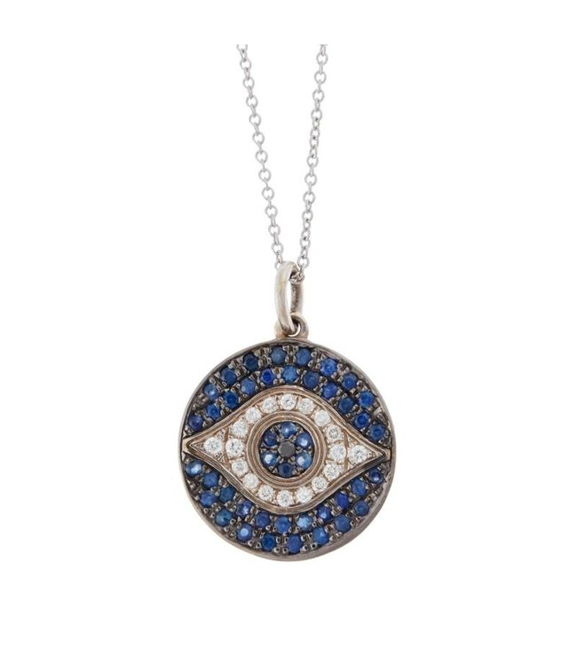 ILEANA MAKRI MINI DAWN PND W- OXS-BS-D-BD 18K WHITE GOLD PENDANT ON CHAIN 40CM WITH BLUE SAPPHIRES, WHITE DIAMONDS AND BLACK DIAMOND OXIDIZED ON THE STONES