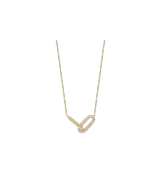 LIZZIE MANDLER ONE-SIDED PAVE LINKED NECKLACE