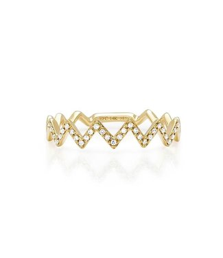 EF COLLECTION ZIG ZAG RING YLW GLD 6