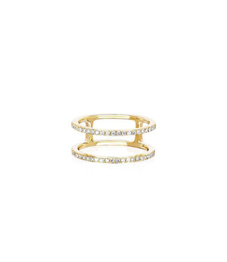 EF COLLECTION DOUBLE SPIRAL RING YLW GLD 7