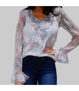 "SEE BY CHLOE ""FLORAL FIREWORKS"" ON SILK GEORGETTE BLOUSE"